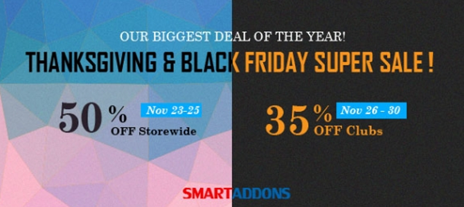 black friday sale at smart addons